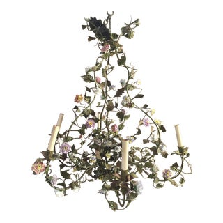 19th Century French Tole Chandelier With Porcelain Flowers For Sale