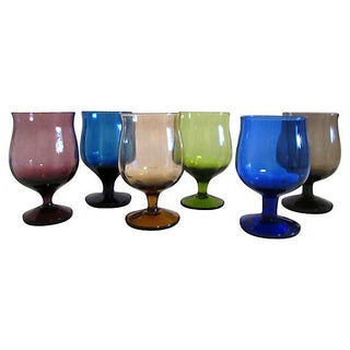Multicolor Footed Cordials- Set of 5 For Sale
