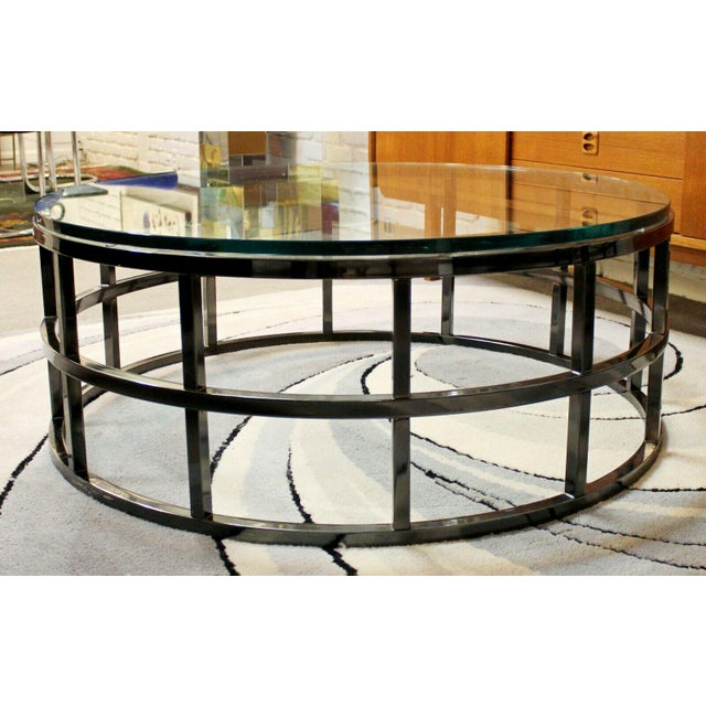 Contemporary Modernist Large Round Gunmetal Glass Coffee Table Brueton 1980s For Sale In Detroit - Image 6 of 10