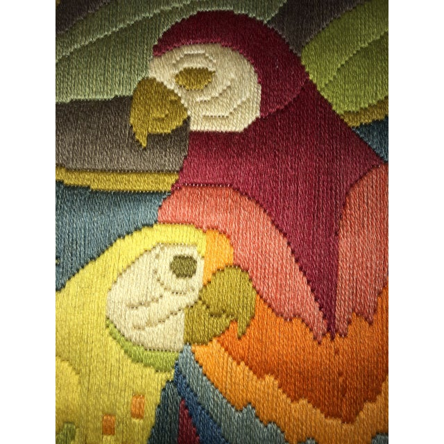 Red Mid-Century Modern Hand Crafted Parrot Needlepoint Artwork in Lucite Frame For Sale - Image 8 of 11