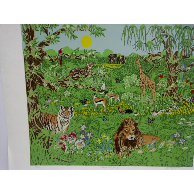 "Boho Chic Miriam Ecker Signed Numbered (123/275) ""Enchanted Jungle"" Print For Sale - Image 3 of 8"
