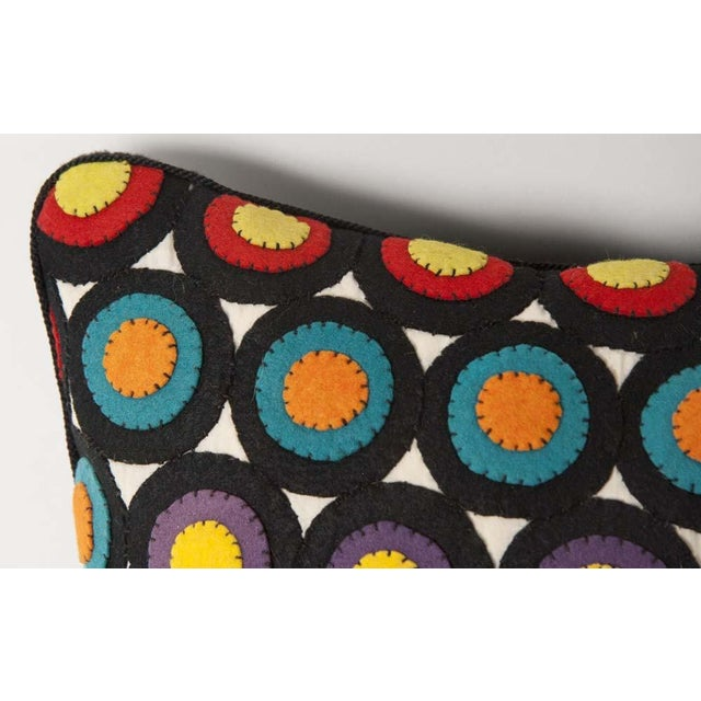 Pair of Vintage Penny Rug Wool Pillows For Sale In New York - Image 6 of 7