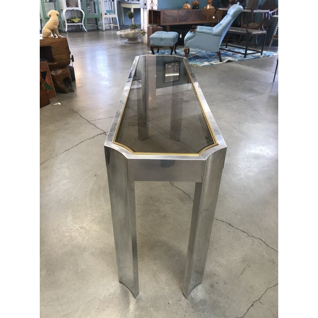 1970s Chrome Brass and Smoked Glass Baughman Style Console Table For Sale In Portland, OR - Image 6 of 7