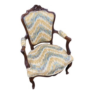 19th Century Carved Louis XV Chair With Chevron Fabric
