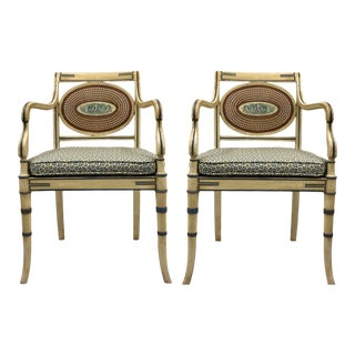 Mid-Century Regency Style Caned Chairs Painted With Cherubs For Sale