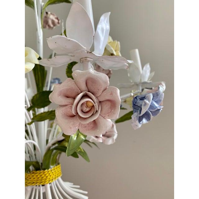 Metal Vintage Ca 1950s Italian Tole 6 Arms Chandelier & Porcelain Rosebuds Flowers For Sale - Image 7 of 13