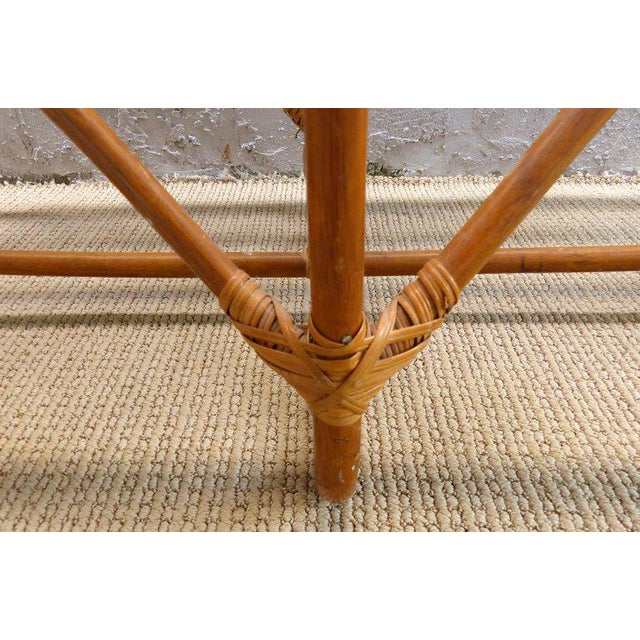 Boho Chic 1970s Italian Bent Rattan Loveseat For Sale - Image 3 of 11