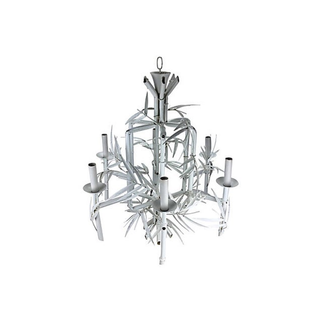 Hollywood Regency Italian Faux-Bamboo White Chandelier For Sale - Image 3 of 5