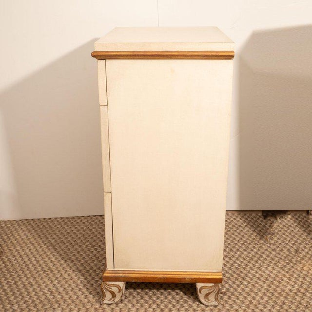 White Pair of Directoire Style Painted Bedside Tables For Sale - Image 8 of 9