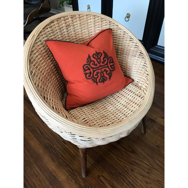 Rattan Barrel Tub Chairs Danish Modern Style With Wood Legs - Pair - Image 12 of 13