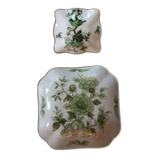 Green & White Chinoiserie Plates-2 Pieces For Sale