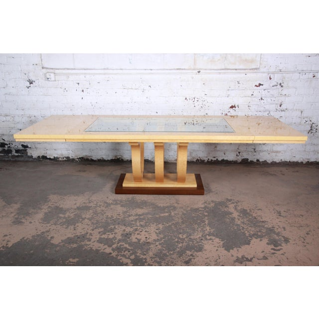 Wood Italian Art Deco Birdseye Maple and Mahogany Pedestal Extension Dining Table For Sale - Image 7 of 11