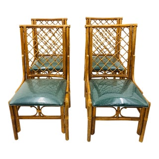 Set Vintage Bent Rattan & Bamboo Dining Chairs For Sale
