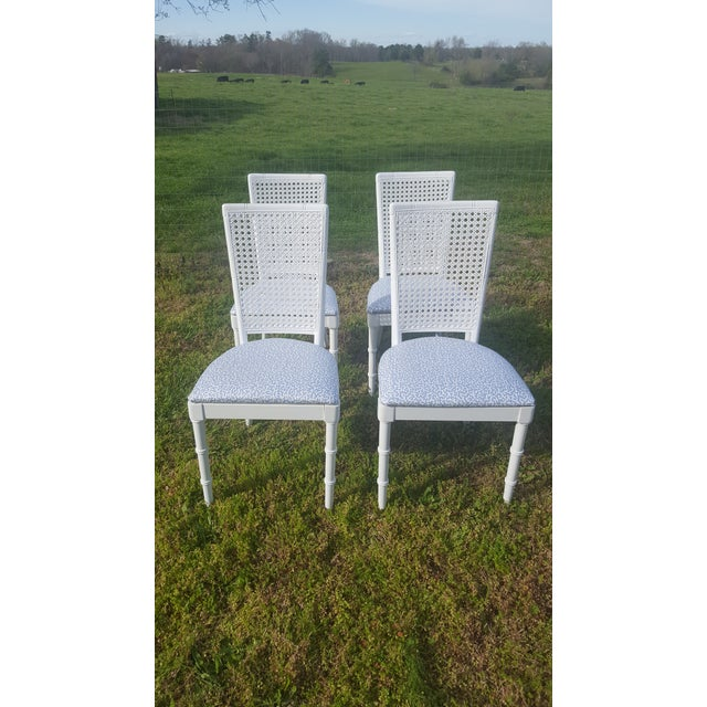 Set of 4- White Palm Beach Regency Faux Bamboo Caned Dining Chairs For Sale In Charlotte - Image 6 of 13