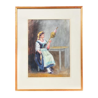 "19th Century ""Woman with Parasol"" Sketch For Sale"