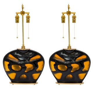 Tortoise Shell Glass and Brass Lamps For Sale