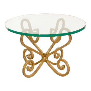 Glass on Gilded Iron Base Pair of Side Tables, Venetian Style For Sale