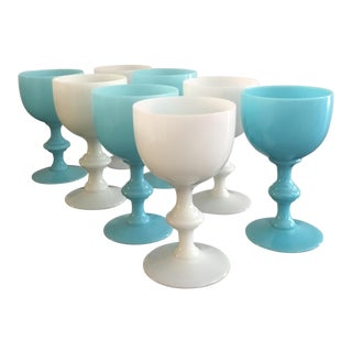 French Blue & White Opaline Goblets - Set of 8