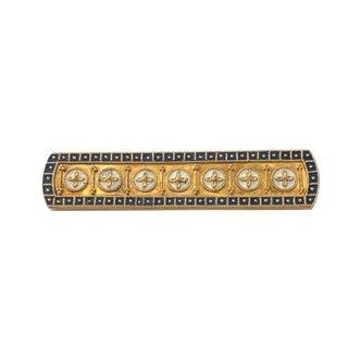Victorian Egyptian Revival 14k Gold Enamel Brooch For Sale
