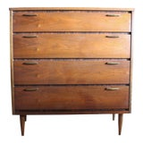 Image of 1960s Vintage Mid Century Walnut Highboy Dresser by Bassett For Sale