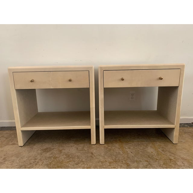 Polished Faux Vellum Nightstands From Made Goods - a Pair For Sale - Image 13 of 13
