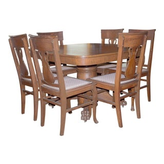 Mid Century Tiger Eye Oak Dining Set For Sale