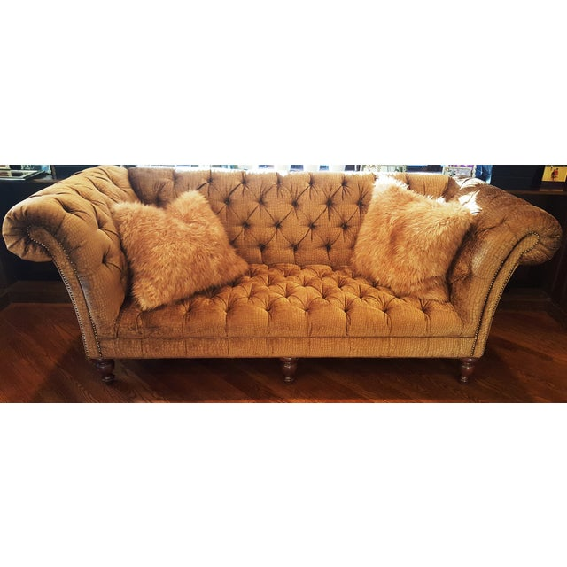 Crocodile Embossed Chenille Chesterfield Sofa - Image 2 of 3
