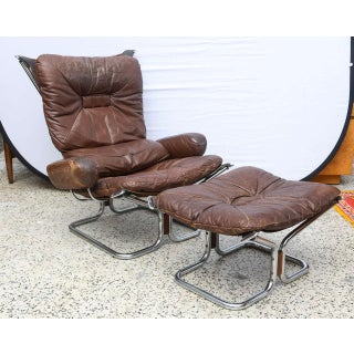 Ingmar Relling for Westnofa Chrome and Leather Chair and Ottoman Norway 1970s Preview