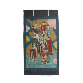 Large Chinese Canvas Art of Characters of Investiture of the Gods For Sale