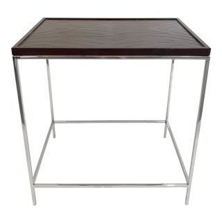 Modern Sarreid Leather Bound Top Side Table For Sale