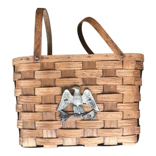 1960s Vintage Woven Basket Split Wood Federal Eagle For Sale