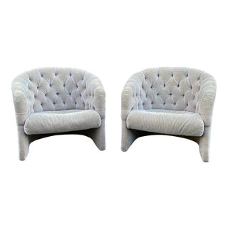 1970s Tufted Mohair Tub Chairs - a Pair For Sale
