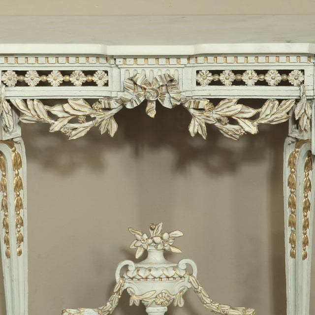Mid-Century Modern 19th Century Swedish Neoclassical Marble-Top Painted Console For Sale - Image 3 of 12