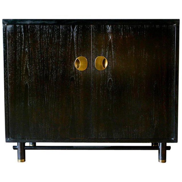 Gold 1970s Hollywood Regency Baker Ebonized Cabinet For Sale - Image 8 of 8