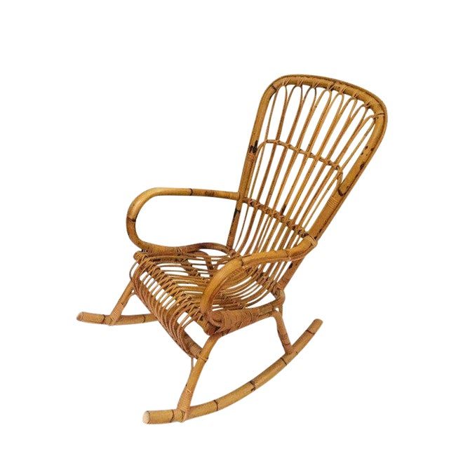 Mid Century Sculpted Bamboo Rocking Chair High Back Franco Albini Style Rocker For Sale