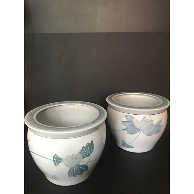 Pair of Beautiful Vintage Classic Chinese Export Ceramic Planters in Serene shades of Blue & Blueish Grey on Ivory White...