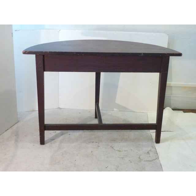 Early American Faux-Grain Demi-Lune Console For Sale - Image 4 of 9