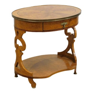 John Widdicomb Biedermeier Style Oval Birdseye Made Inlaid Side Table For Sale