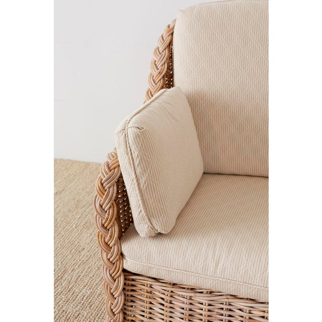 Mid 20th Century Pair of Organic Modern McGuire Style Rattan Wicker Sofas For Sale - Image 5 of 13