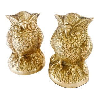 Vintage Brass Owls Bookends - A Pair