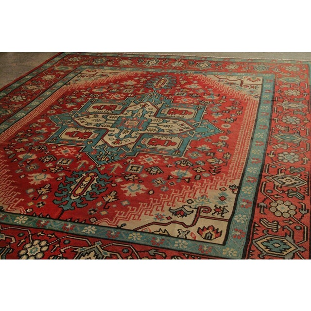 Hand Knotted Vintage Geometric Rug - 9' X 10' For Sale - Image 4 of 6