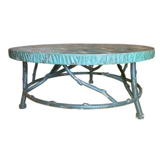 Rustic Faux Bois Metal Coffee Table With Patina For Sale