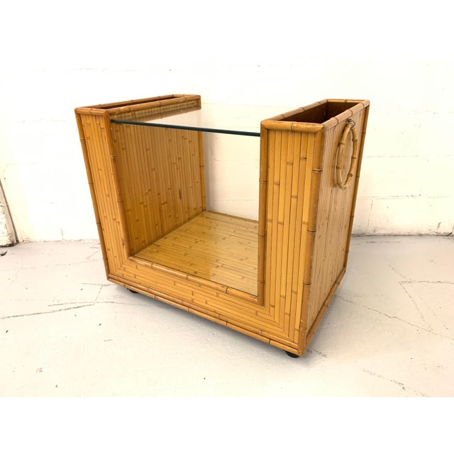 Mid Century Split Reed Rattan Bar Cart For Sale - Image 9 of 9