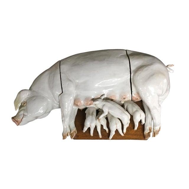 Large Wall Plaque Porcelain Pig W/ Piglets - German C. 1840 For Sale