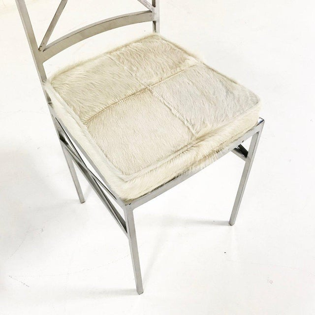 Set of 8 Mid-Century Swedish Polished Steel Dining Chairs With Custom Ivory Cowhide Cushions For Sale - Image 10 of 10