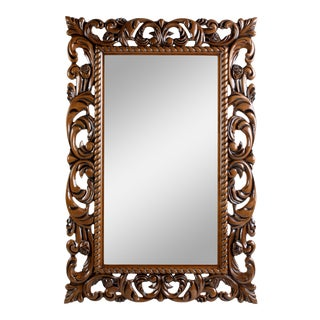 Floral Carved Traditional Accent Mirror For Sale