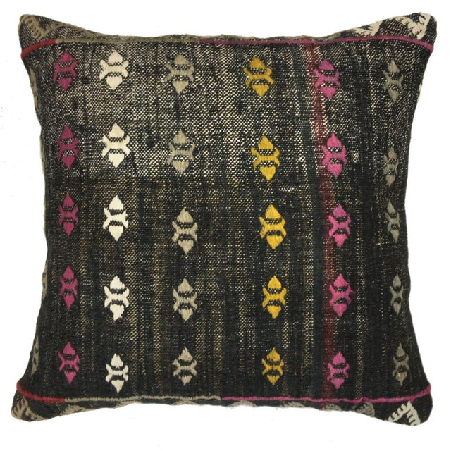 """Mid-Century Modern Colorful Contrast Vintage Kilim Pillow 
