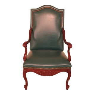 Hancock & Moore Green Leather High Back Mahogany Armchair For Sale