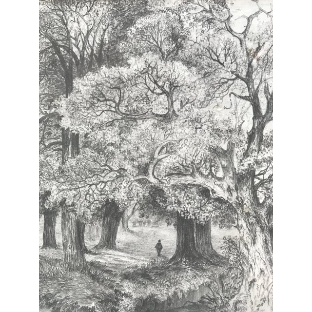 Antique 19th Century English Graphite Landscape Drawing For Sale - Image 4 of 7