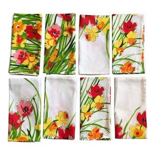 Vintage Vera Neumann Floral Cloth Dinner Napkins - Set of 8 For Sale